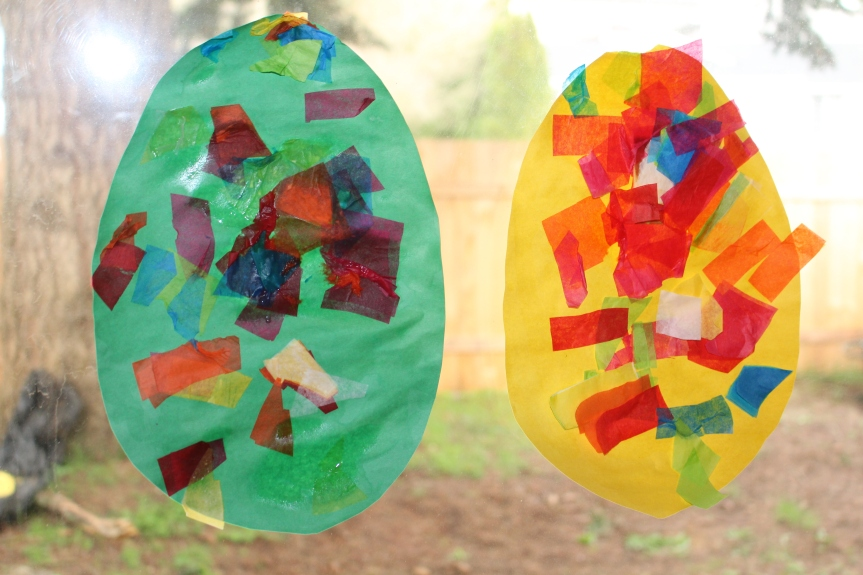 Easter Craft: Colorful Tissue Paper Eggs!