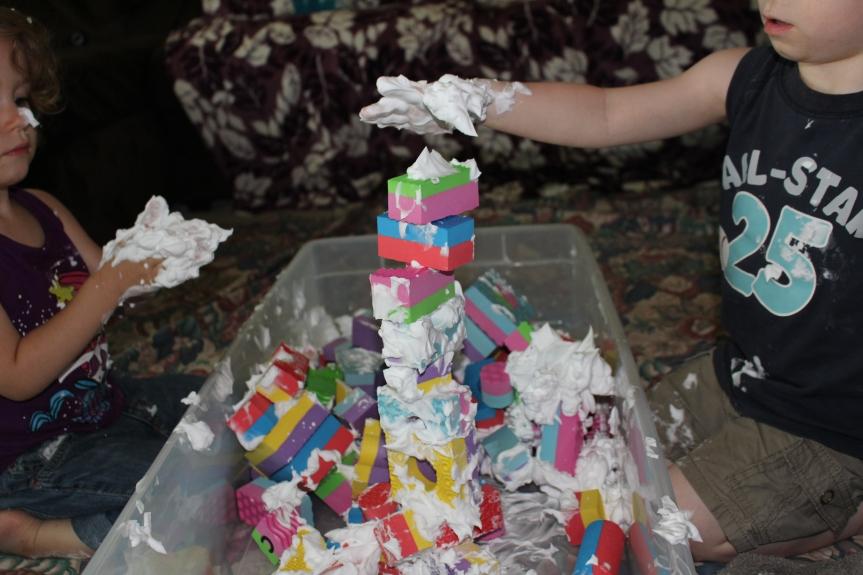 Sensory Play: Foam Blocks and ShavingCream