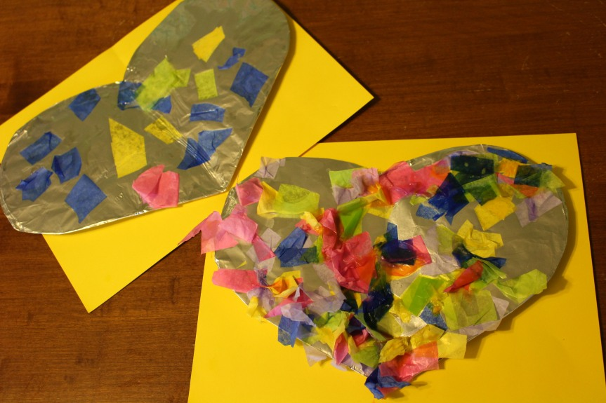 Tissue Craft: Bright & Shiny Tinfoil Hearts